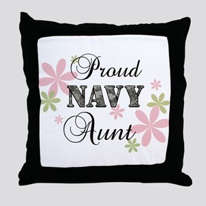 Navy Aunt [fl camo] Throw Pillow